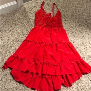 Dresses & Skirts - Crochet red dress with open / tie back